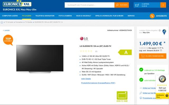 OLED, LG 55C7D, EURONICS (vor Ort oder Online zu erwerben) [momentan bei 1699€]