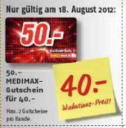 [OFFLINE] Medimax Gutscheinkarten 50€ für 40€