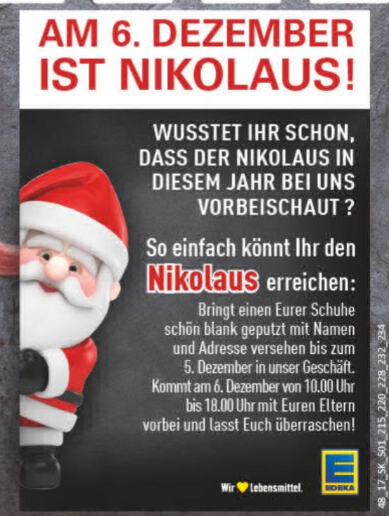 [EDEKA Rhein-Ruhr] Kostenlose Füllung für die Stiefel eurer Kinder zu Nikolaus!