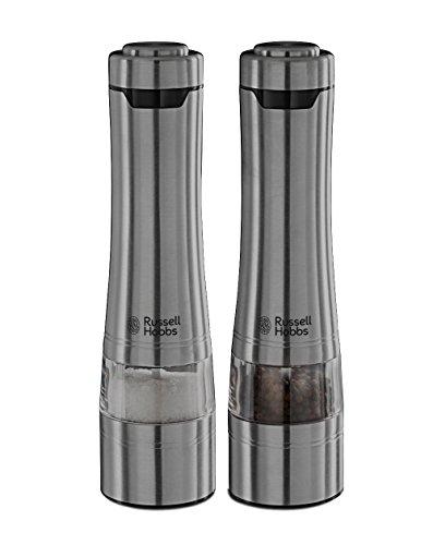 [Amazon Tagesdeal] Russell Hobbs Classics 23460-56 Salz- und Pfeffermühle mit elektrischem Keramikmahlwerk (6 x 6 x 23,3 cm) edelstahl