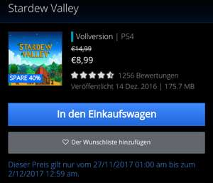 [PS4] Stardew Valley (PS Store)