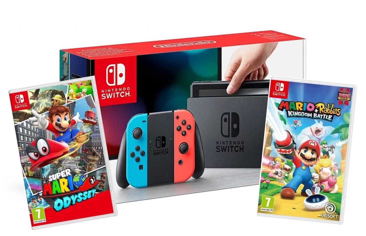 Nintendo Switch im Bundle mit Mario Odyssey und Mario+ Rabbids ab 11 Uhr