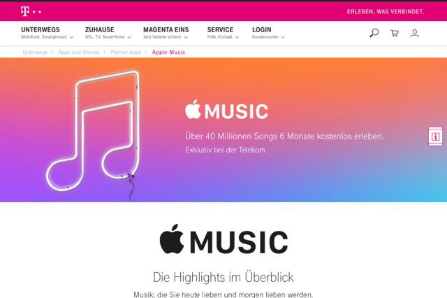 6 Monate Apple Music für Telekom Handy Vertragskunden gratis (Danach 10€ pM)