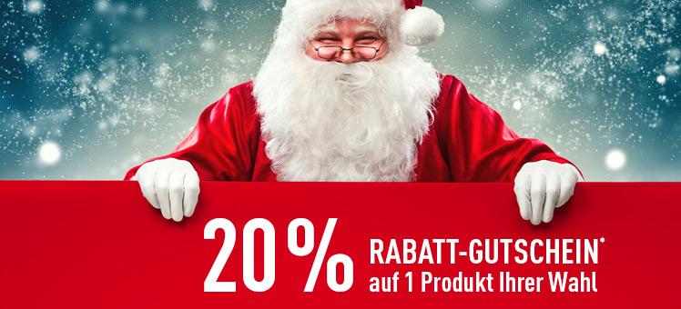 20 % Rabatt-Aktion auf einen Artikel ab sofort bis 6. Dezember 2017
