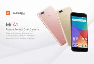 Xiaomi Mi A1 5.5 inch Smartphone Android One Dual Rear 12.0MP Cam Snapdragon 625 4GB 32GB IR Remote Control Full Metal Body - Black