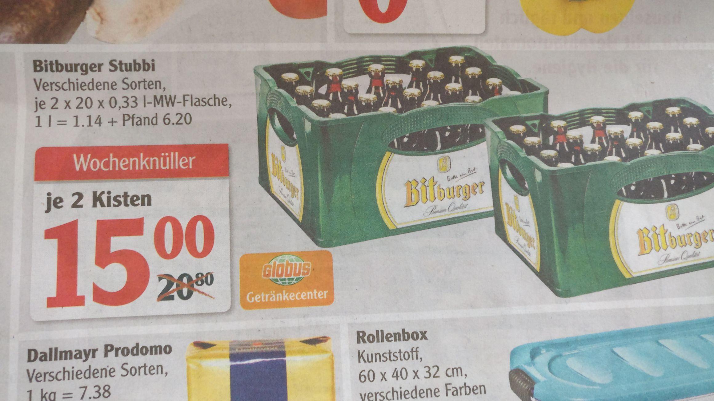 2 Kisten Bitburger Stubbi [Lokal Globus Gensingen]