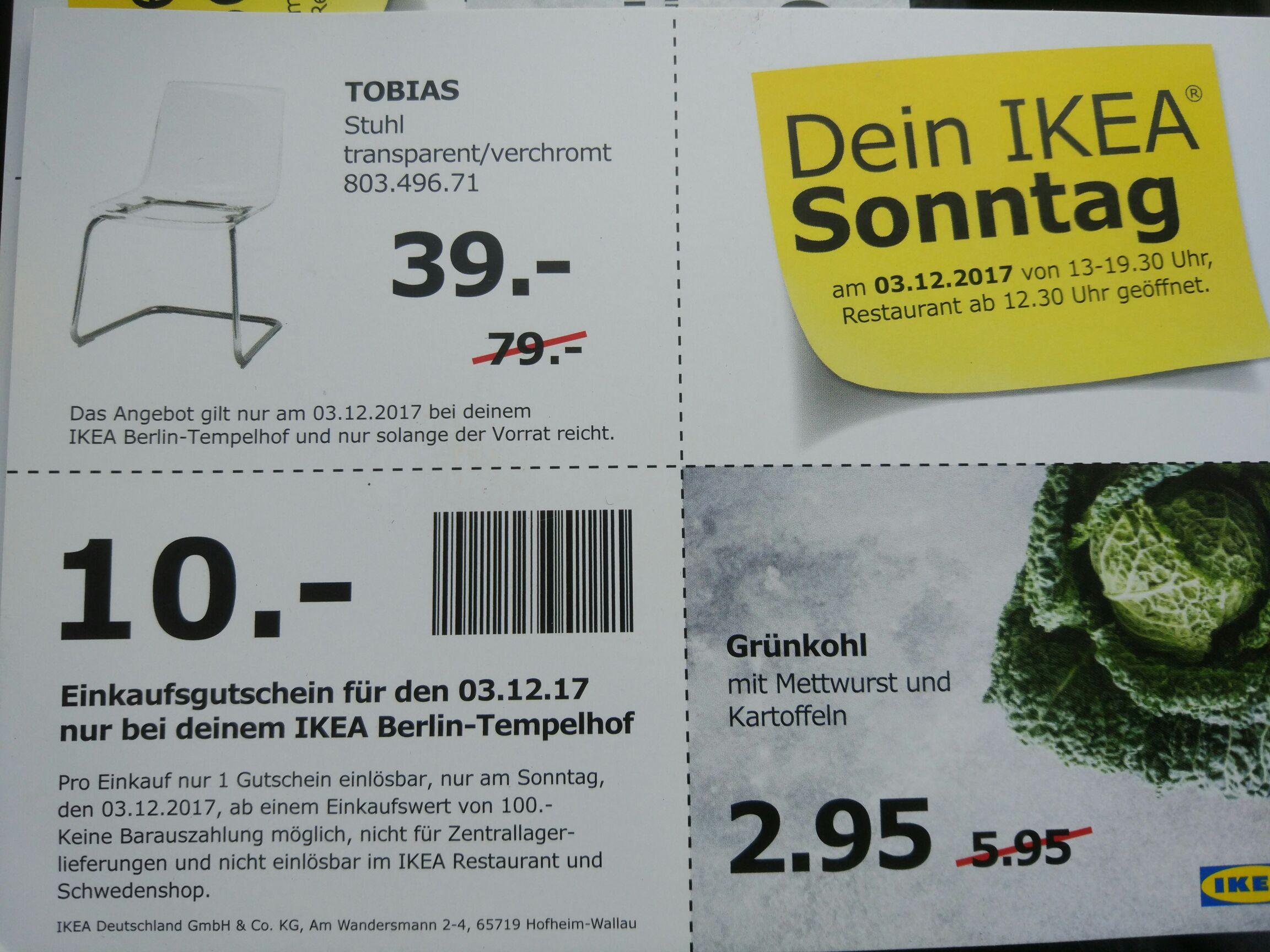 Lokal Ikea Berlin Tempelhof 10€ Einkaufsgutschein für den 03.12.2017