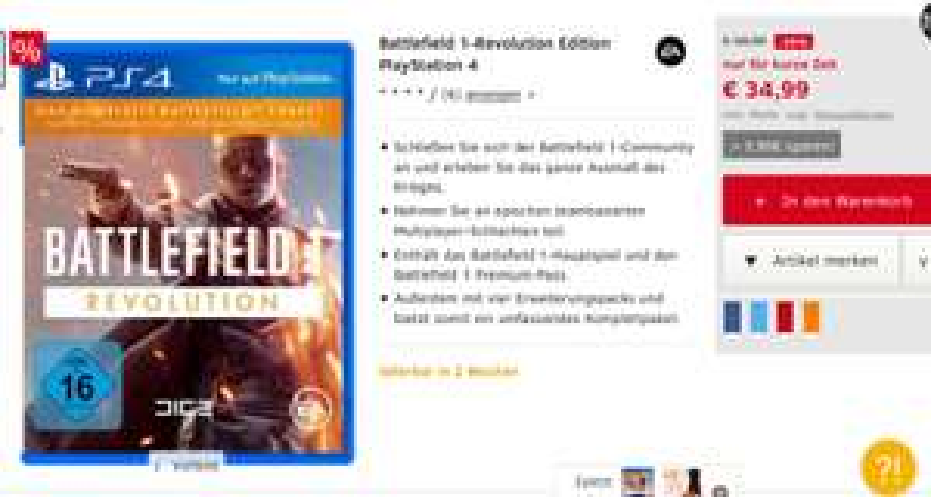 Battlefield 1 Revolution Edition - 19,99€ Günstiger als PSN - keine VK