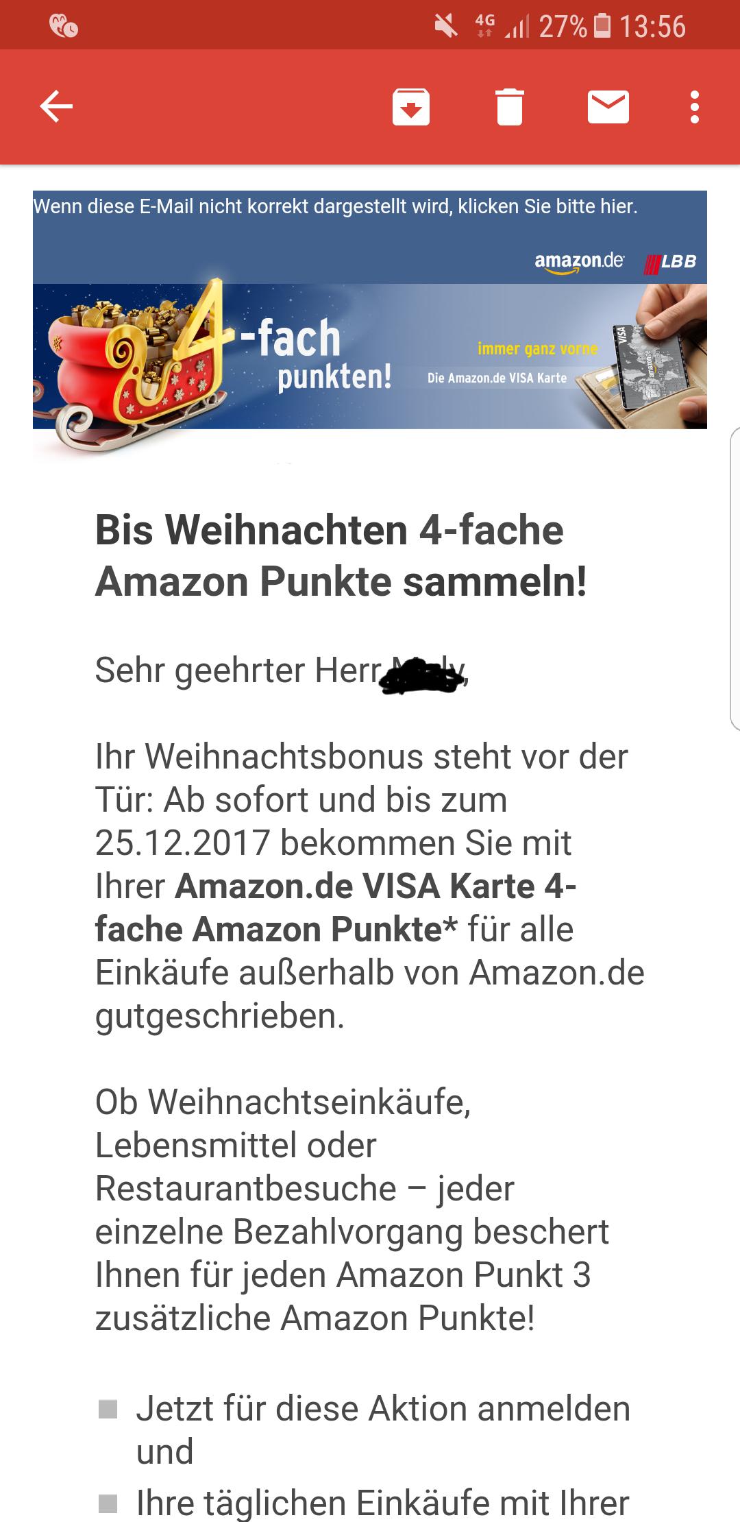 4-fach Punkte für alle Einkäufe außerhalb Amazons mit der Amazon Visacard