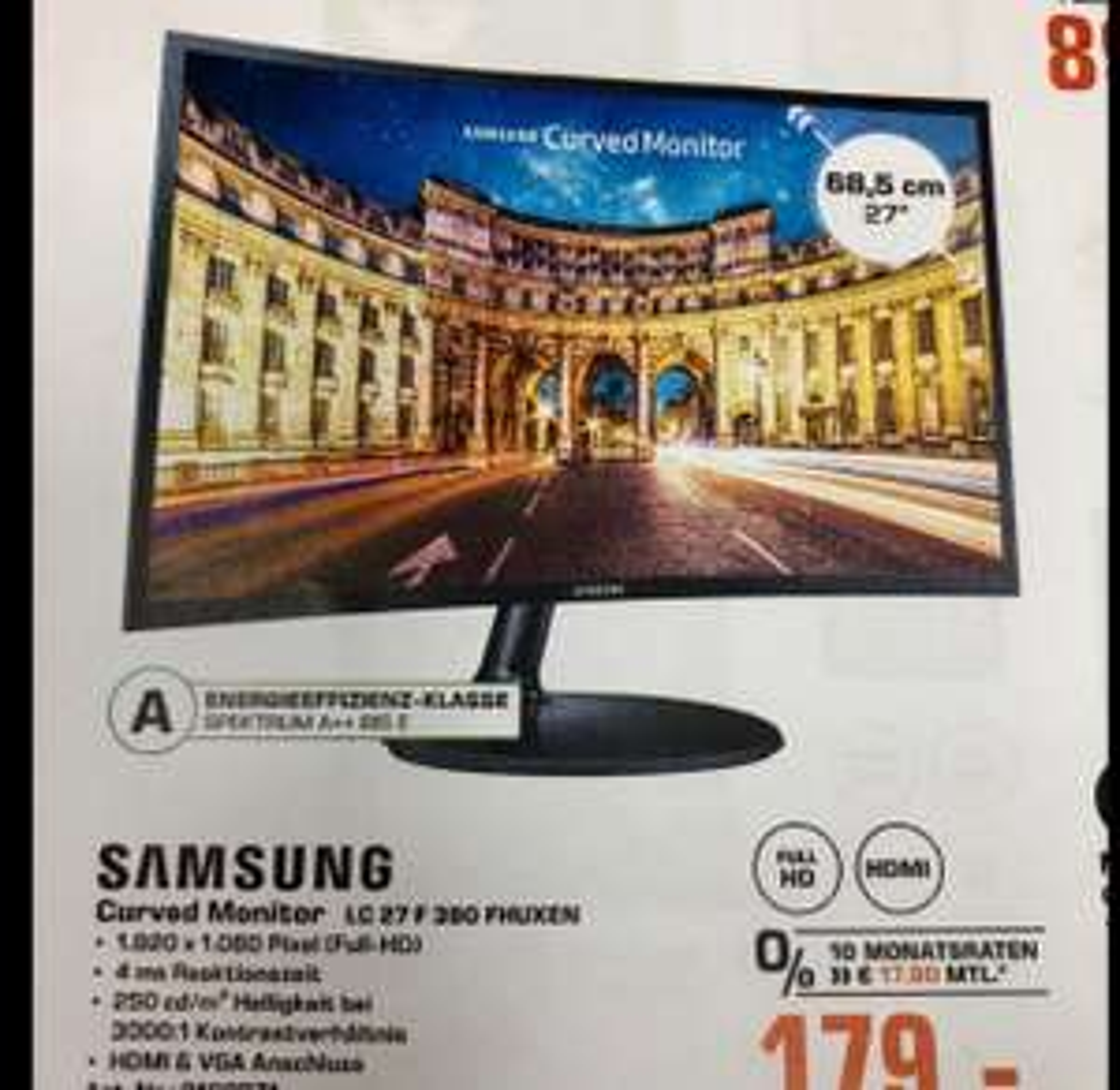 """Saturn Hamburg lokal - Samsung 27"""" Curved Monitor LC27F390FHUXEN"""