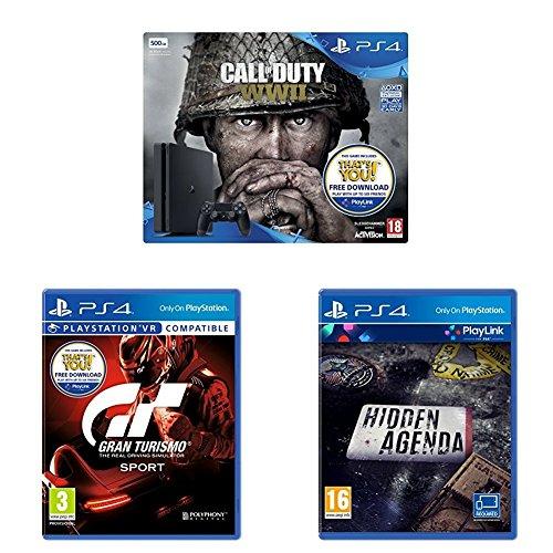 PlayStation 4 Slim + Call of Duty: WW2 + Gran Turismo Sport + Hidden Agenda für 228€