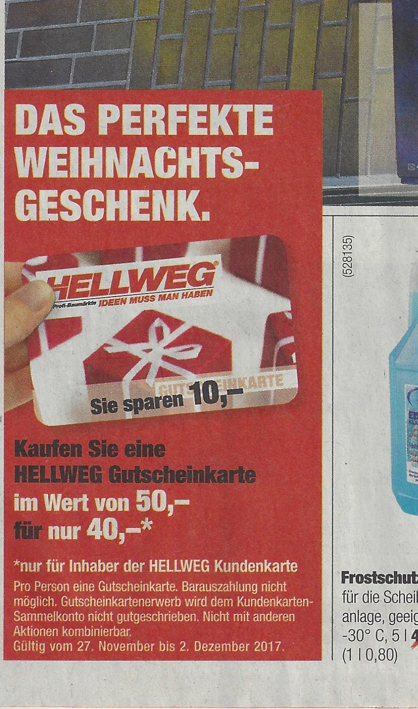 Hellweg Gutscheinkarte im Wert von 50 € für 40 €