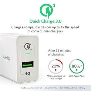 [AMAZON] Anker PowerPort+ 1 Quick Charge 3.0 18W USB Wand Ladegerät mit Power IQ