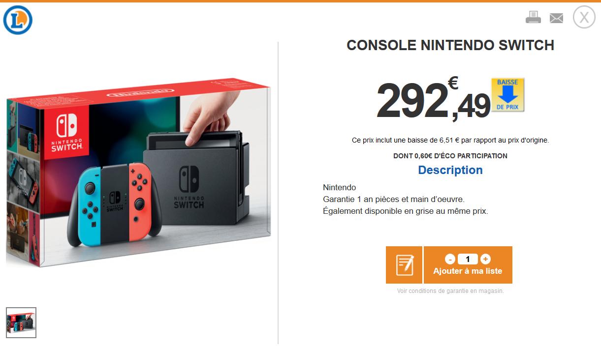 [Grenzgänger Frankreich][E.Leclerc] Nintendo Switch für 292,49 €/ 3DS Selects für 14,90 €