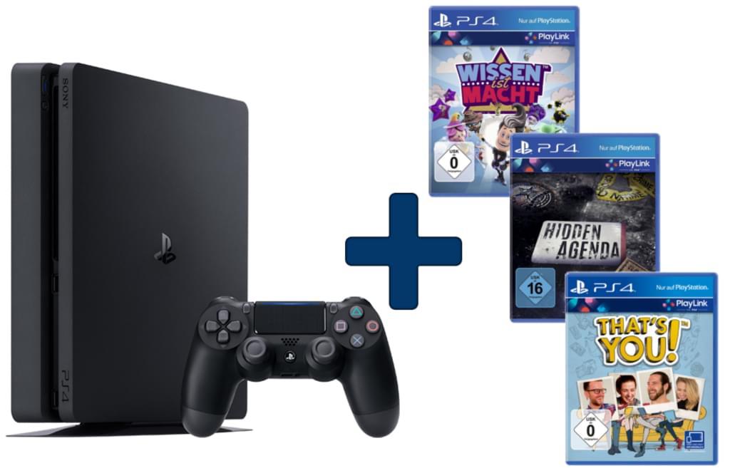 [Real Online] PS4 Slim 500GB + Wissen ist Macht + Hidden Agenda + That's You