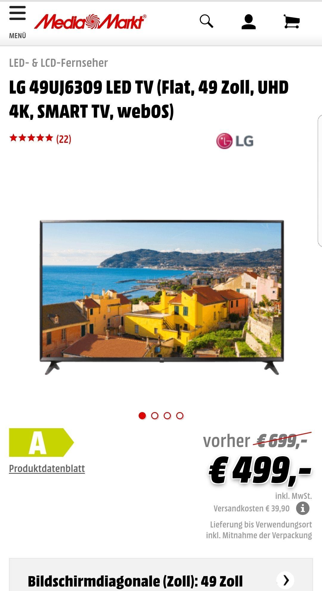 *Media-Markt* LG 49UJ6309 LED TV (Flat, 49 Zoll, UHD 4K, SMART TV, webOS) mit HDR 10 (8 Bit + FCR)