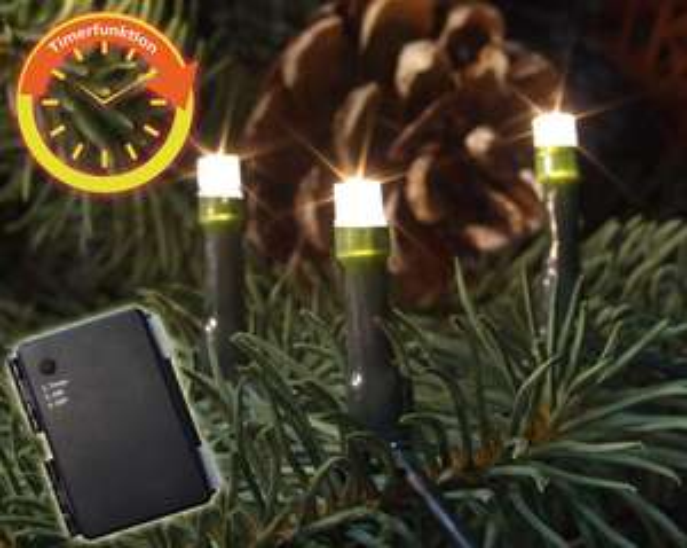 Zwei LED Lichterketten Außen m. Timer - Batteriebetrieben 120 / 200 LED - PAYDIREKT - Rakuten