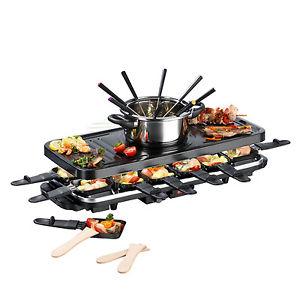 GOURMETmaxx Raclette und Fondue Set XXL für 12 Personen in Schwarz Käsefondue