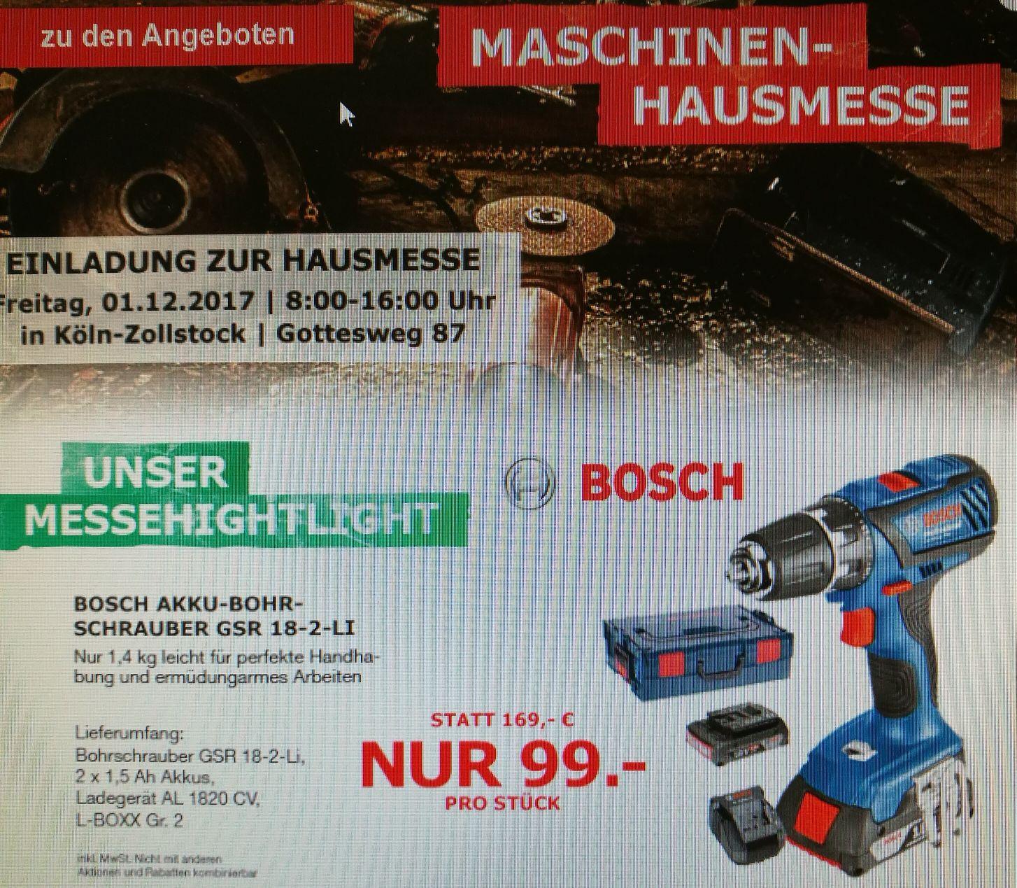 [Lokal Köln] Am 1.12.: Bosch Professional GSR 18-2-LI, 2x1,5Ah, L-Boxx