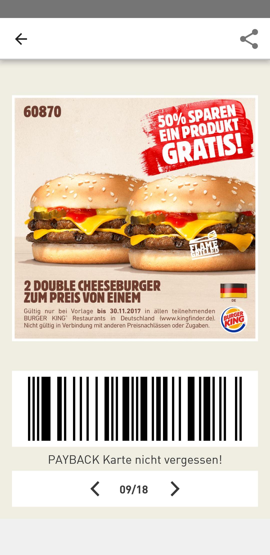 (Burger King) 2 Double Cheeseburger zum Preis von Einem