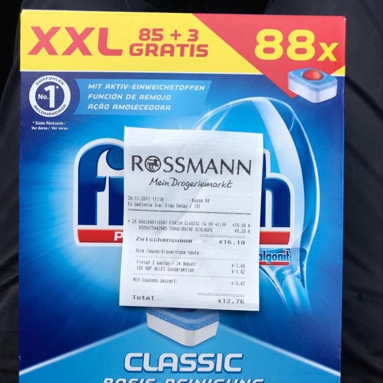 2x XXL Finish Geschirrtabs + Tüte für  12,76 statt 16,18€ Rossmann Dortmund