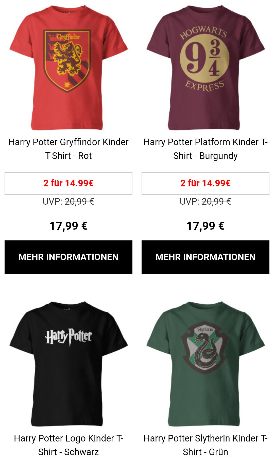 Harry Potter Kinder Shirts 2 für 1.