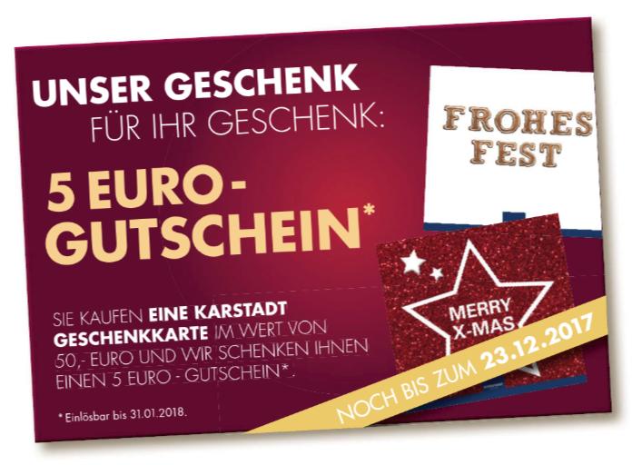 [Karstadt] 50€+5€ Gutscheinkarte für 50€ bis 23.12.2017