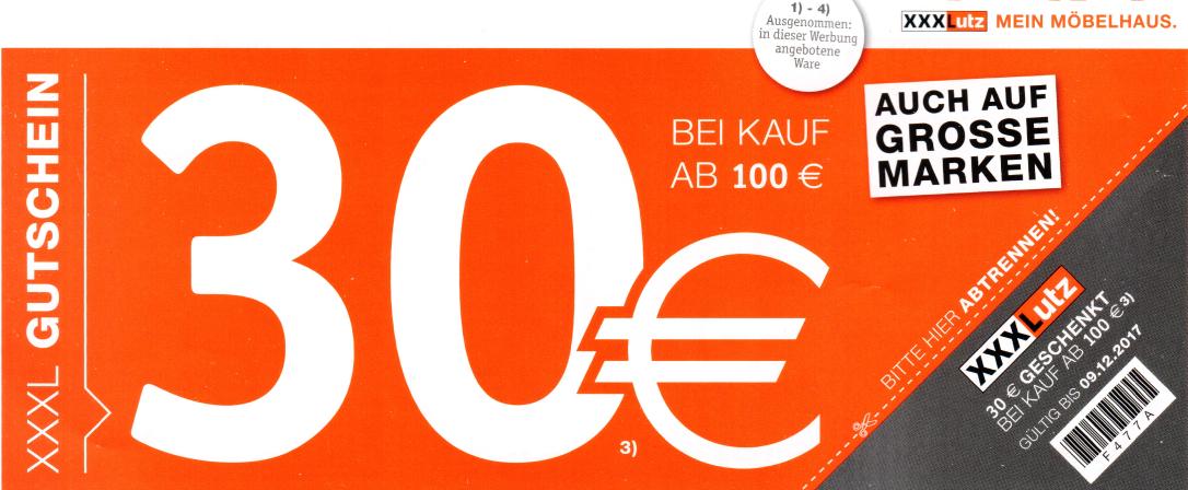 [XXXLutz] Neuer 30€ ab 100€ Gutschein bis 09.12.2017