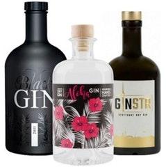 Aloha Gin, GinSTR Stuttgart Dry Gin & Gansloser Black Gin im Set für 65,- EUR VSK frei
