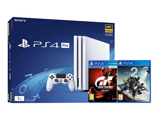 Playstation 4 Pro weiß + GT Sport + Destiny 2 für 340€ (Graingergames)