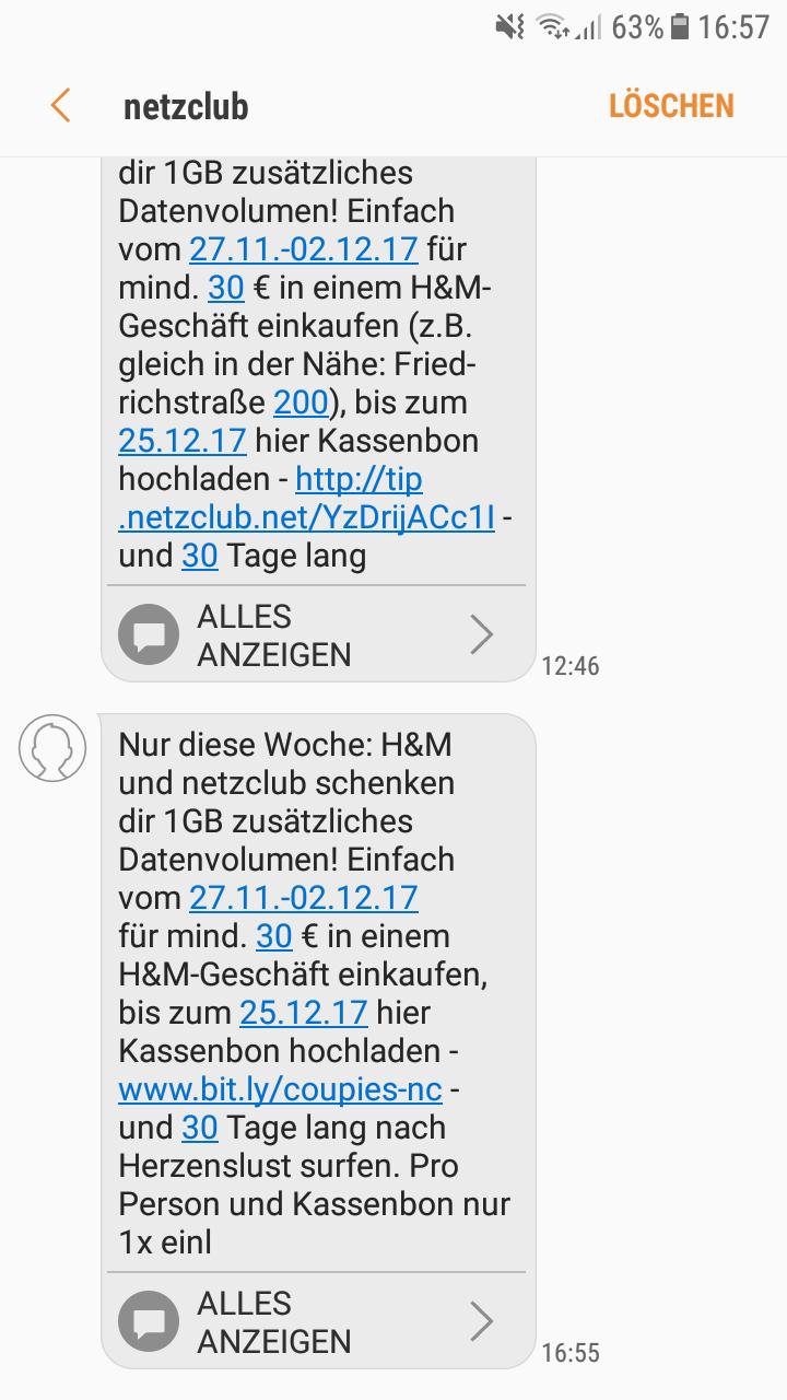 Netzclub 1GB gratis ab 30€ bei h&m