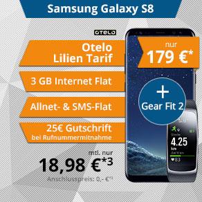 Galaxy S8 + Gear Fit 2 Allnet-Flat 3GB UMTS 18,99€/Monat +179€ einmalig