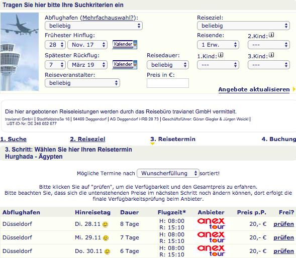 Lastminute Nurflug Hurghada 20€ return ab DUS Nov+Dez, VGP 107,68€