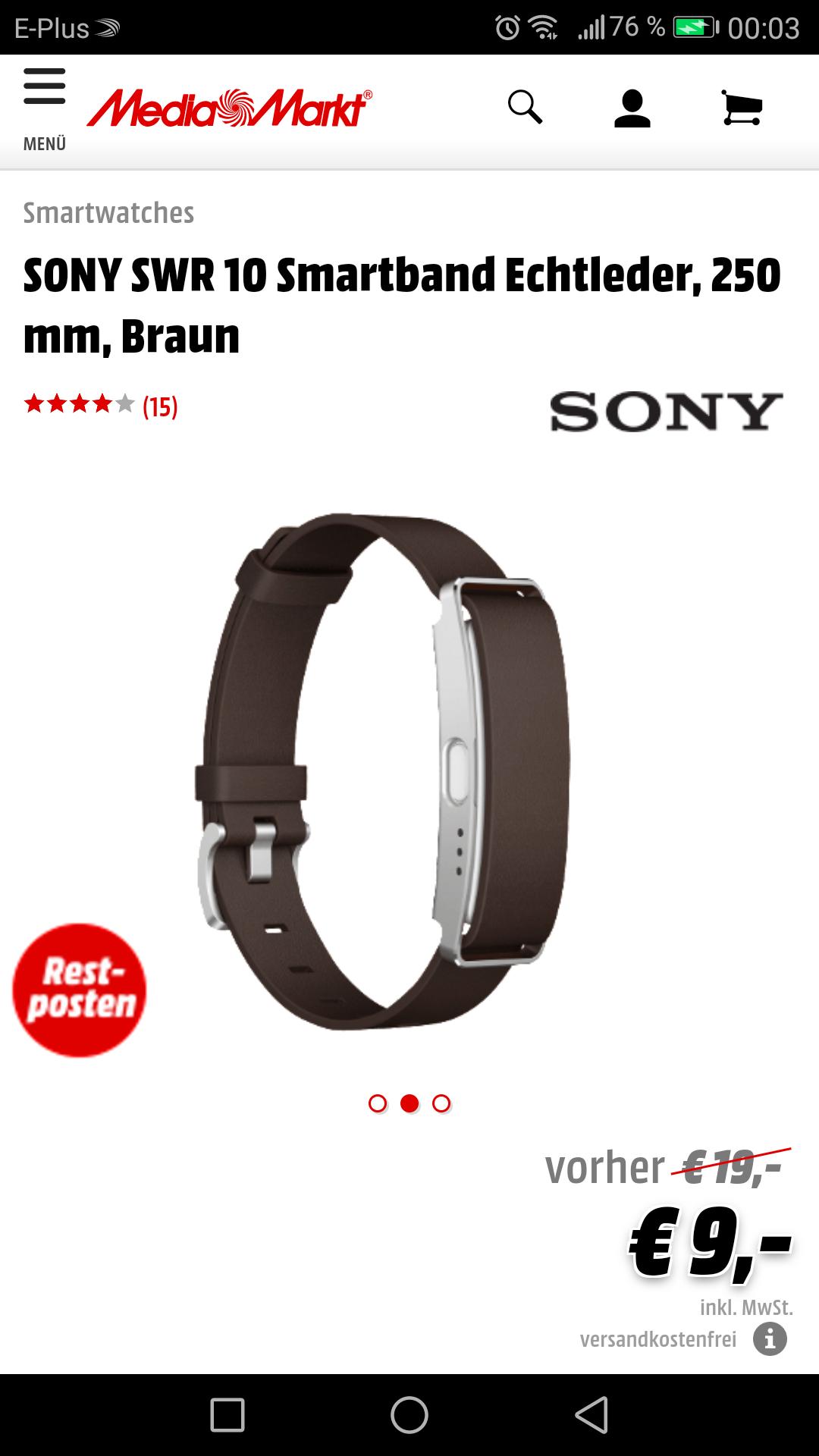 [Media Markt Online] SONY SWR10 Smartband Echtleder Braun 250mm / Versandkostenfrei
