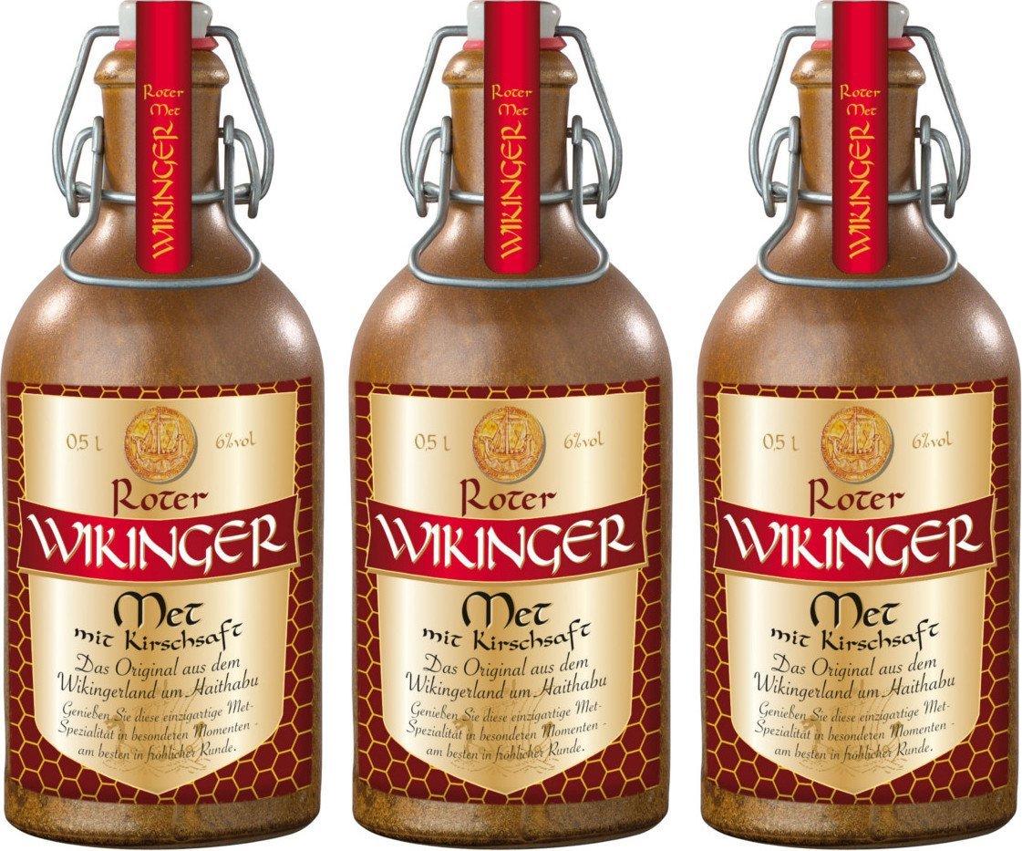Roter Wikinger Met (3x 0,5l im Tonkrug für 12,49€, 3x 0,75l für 12,49€, 3l für 14,49€, 10l für 38,99€) bei Amazon Prime