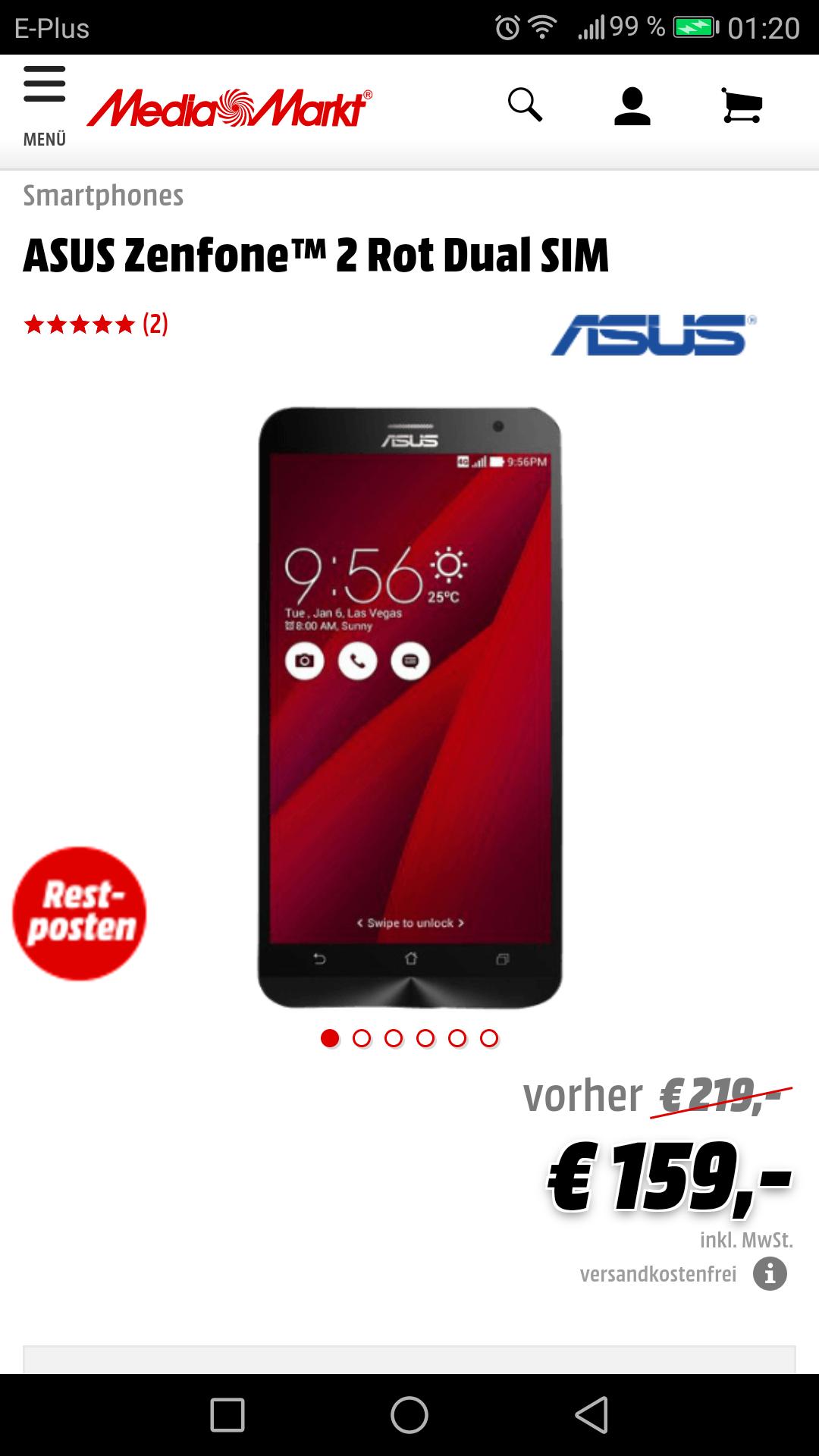 """[Media Markt / Redcoon] ASUS Zenfone 2 Rot / 5,5"""" Zoll/Dual Sim/Intel Atom/4GB Ram / Versandkostenfrei / Zur Info: diese ist die Rote Version!!!"""
