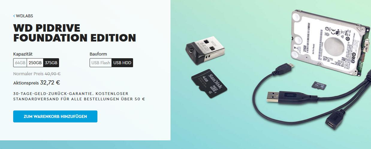 Raspberry Pi: WD PiDrives im Angebot: 64GB für 16,72€ / 250GB für 25,52€ / 375GB für 32,72€ - inkl. Versand!