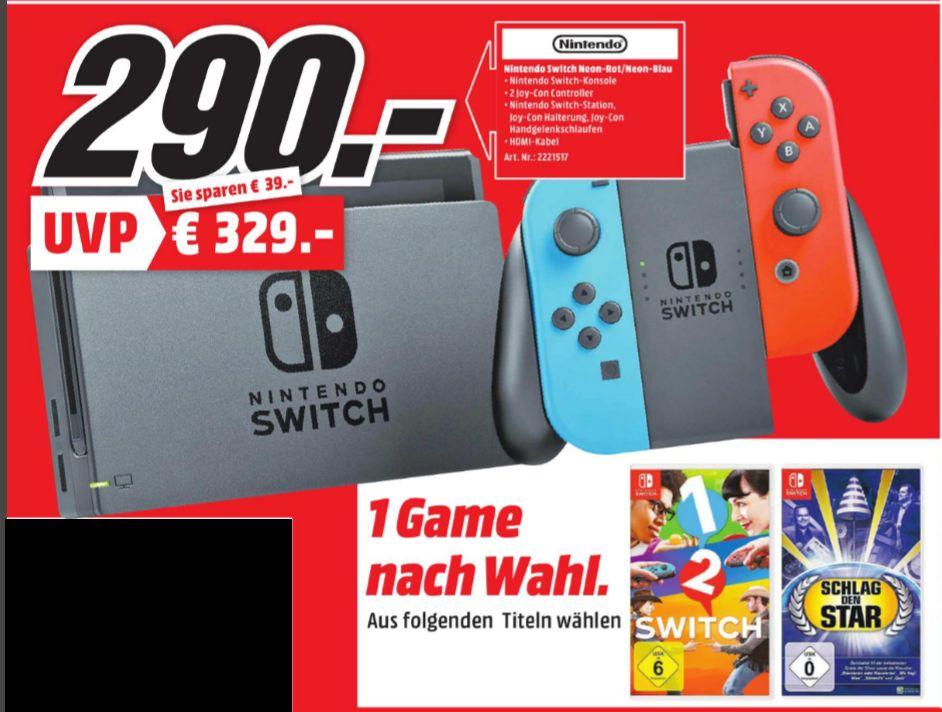 [Regional Mediamarkt Heppenheim ab 30.11] Nintendo Switch schwarz + Joy-Con neon-rot/neon-blau + 1-2-Switch oder Schlag den Star für 290,-€