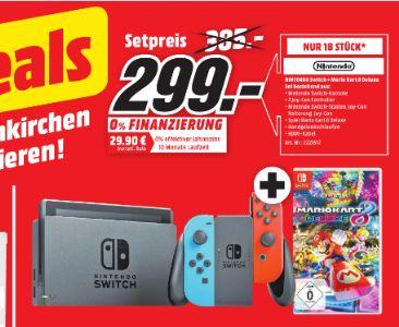 [Regional Mediamarkt Neunkirchen/Sonntagsdeal] Nintendo Switch schwarz + Joy-Con neon-rot/neon-blau + Mario Kart 8 Deluxe für 299,-€ **NUR 18 Stück**