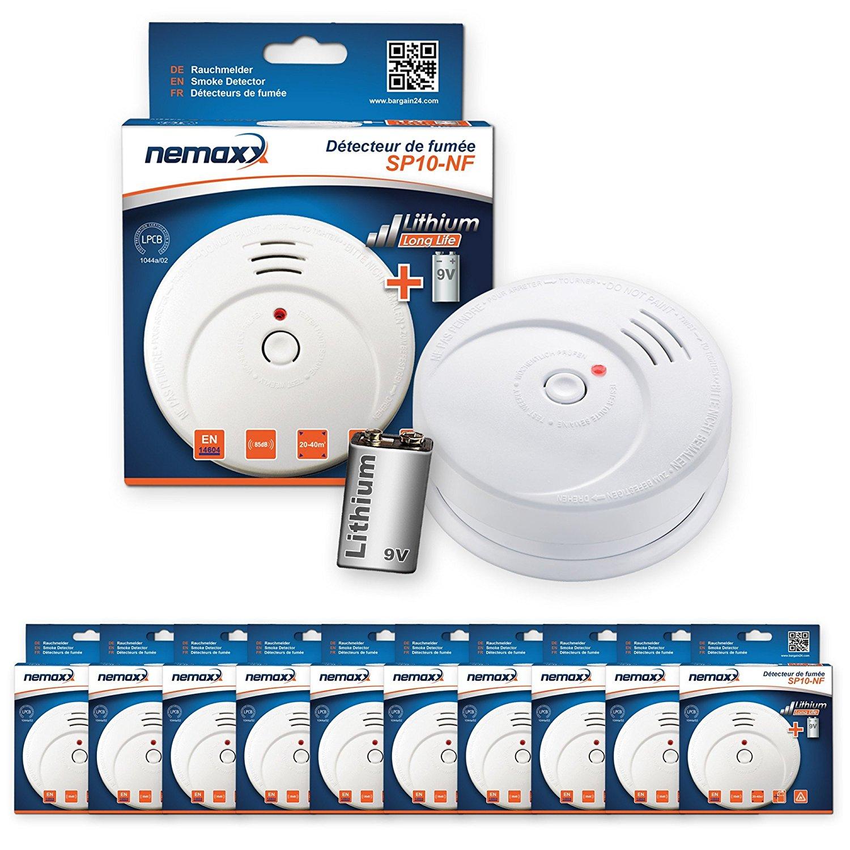 Nemaxx 10x SP10-NF Rauchmelder mit 10 Jahres Baterie für nur 36,40€ [Amazon]