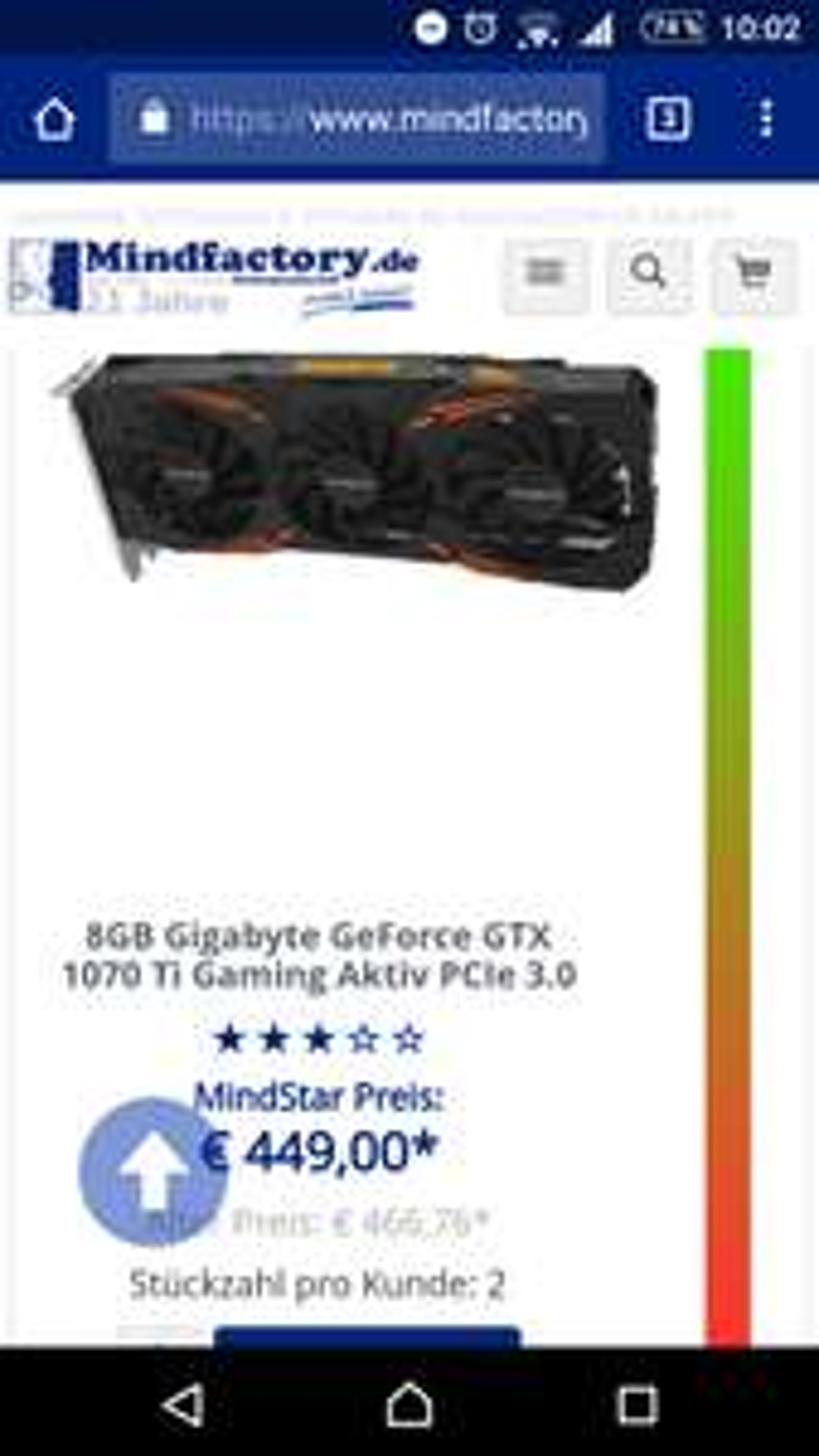 [Mindfactory]Gigabyte gtx 1070ti Gaming 8gb