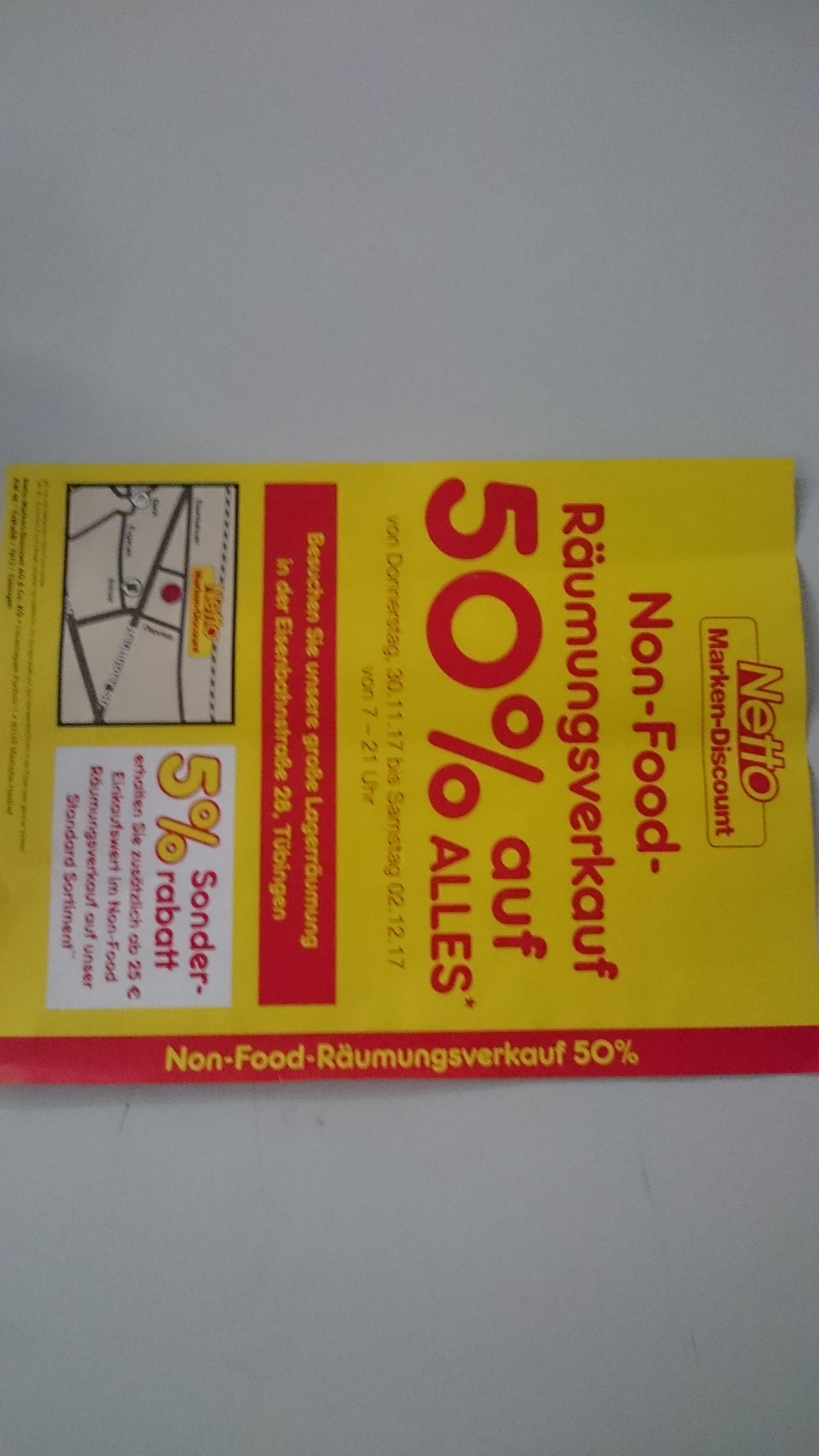 Räumungsverkauf Netto Tübingen, 50% auf alle Non-Food Produkte