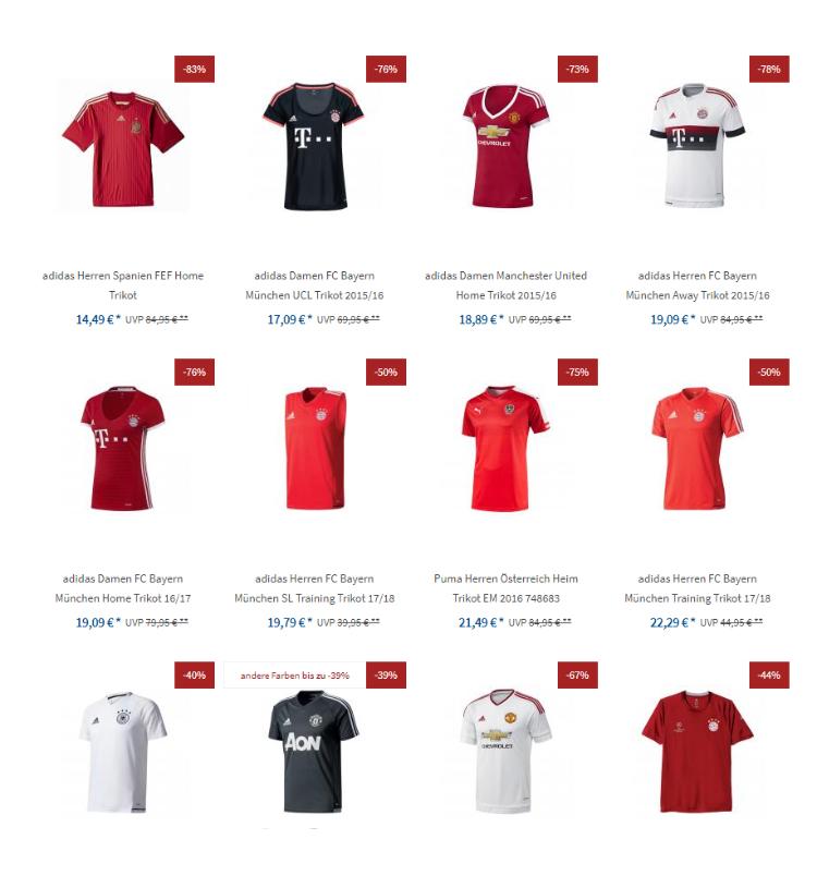 Fussballtrikots, Spanien, Bayern München, Manchester United ab 14,49 + 2,99 versand
