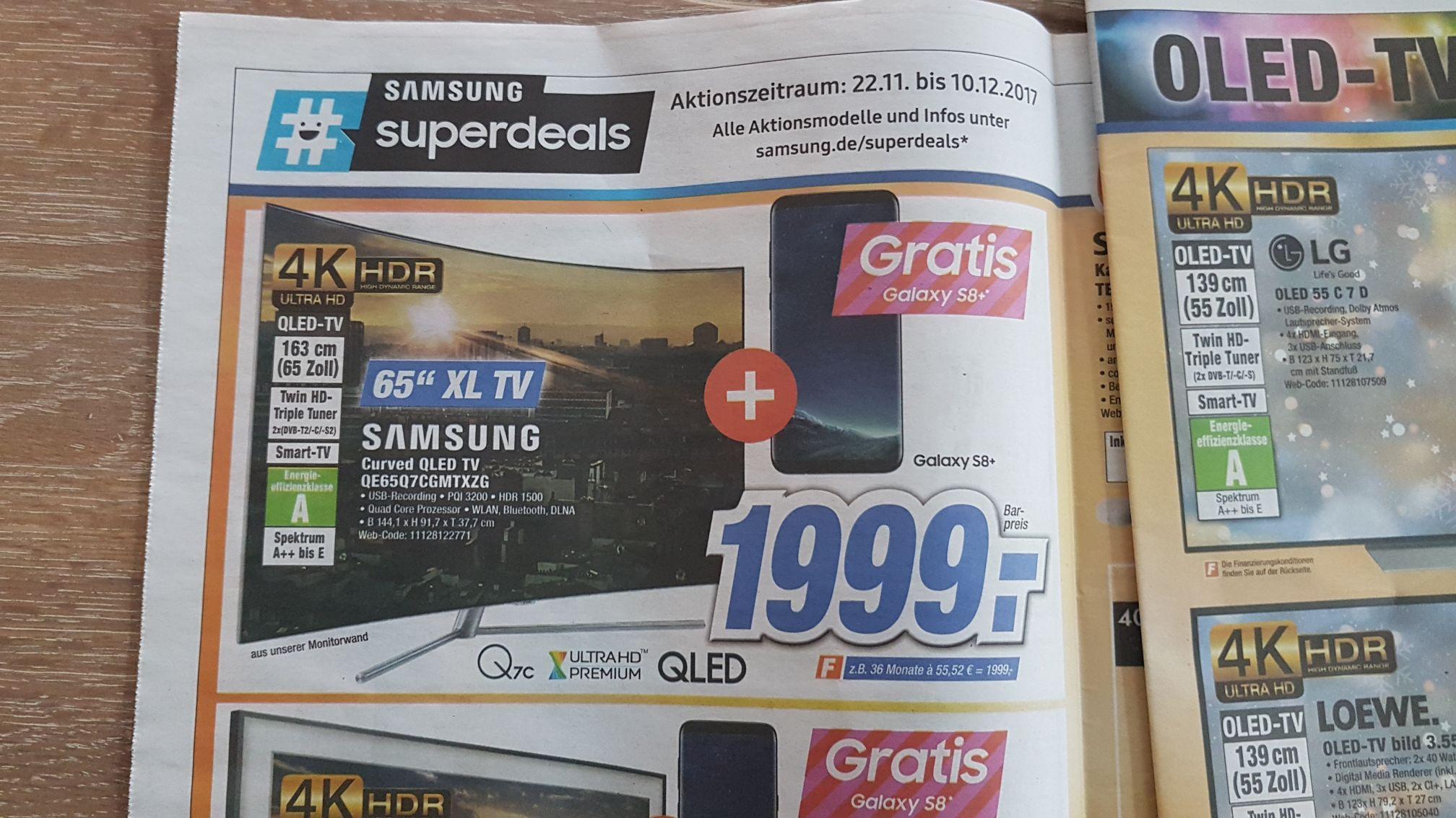 Lokal Expert Dinslaken Samsung Q7C mit Samsung  S8+