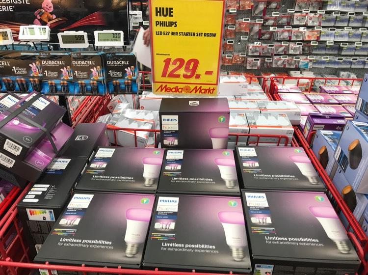 LOKAL Mediamarkt DD / Philips Hue White und Color Ambiance E27 LED Lampe Starter Set, drei Lampen 4. Generation, mit Dimmschalter und Bridge