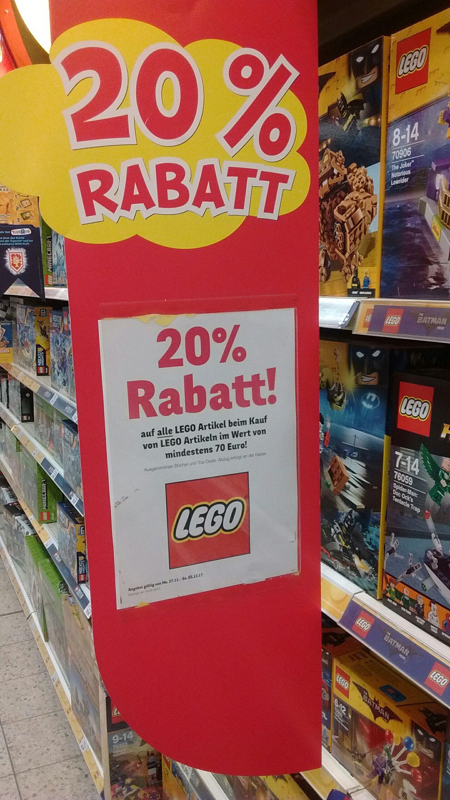 20 % auf Lego bei Toys R Us Online und Offline