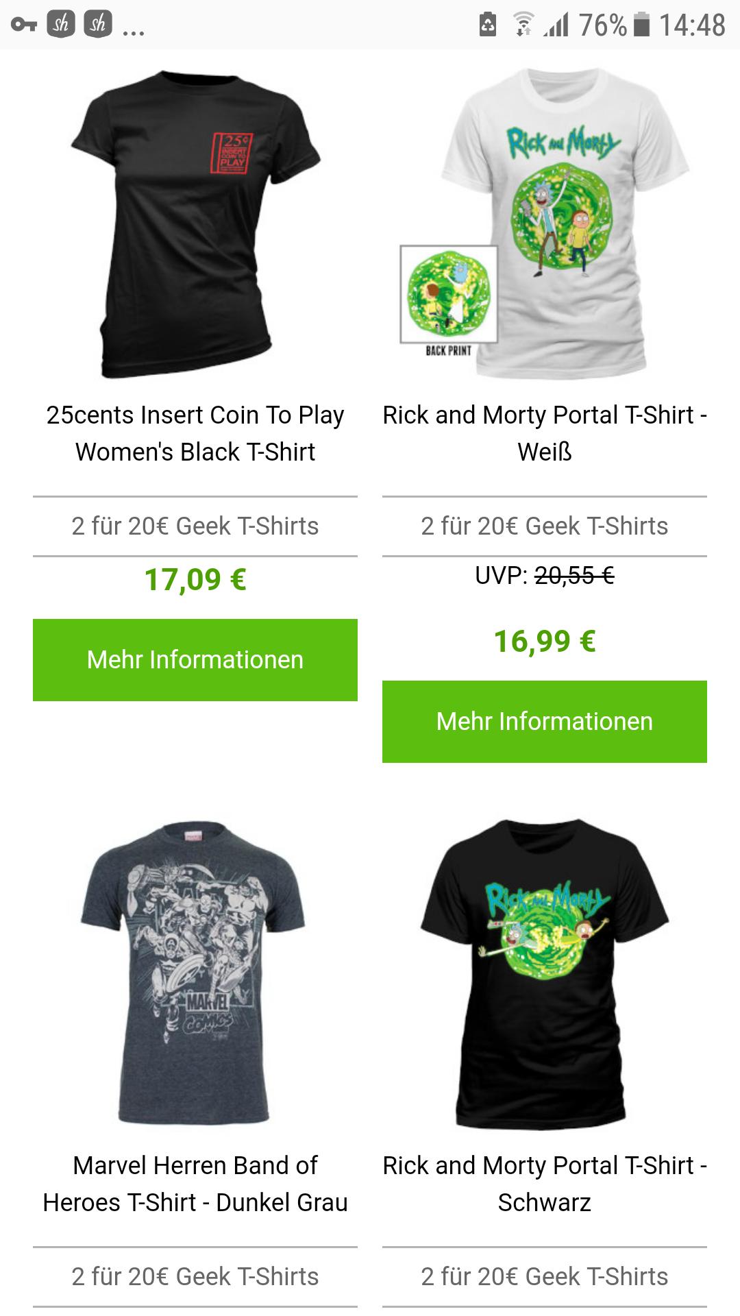 2 Merch Tshirts für 20€ inkl versand auswahl aus über 1300 Tshirts z.B Rick and Morty,dc und co