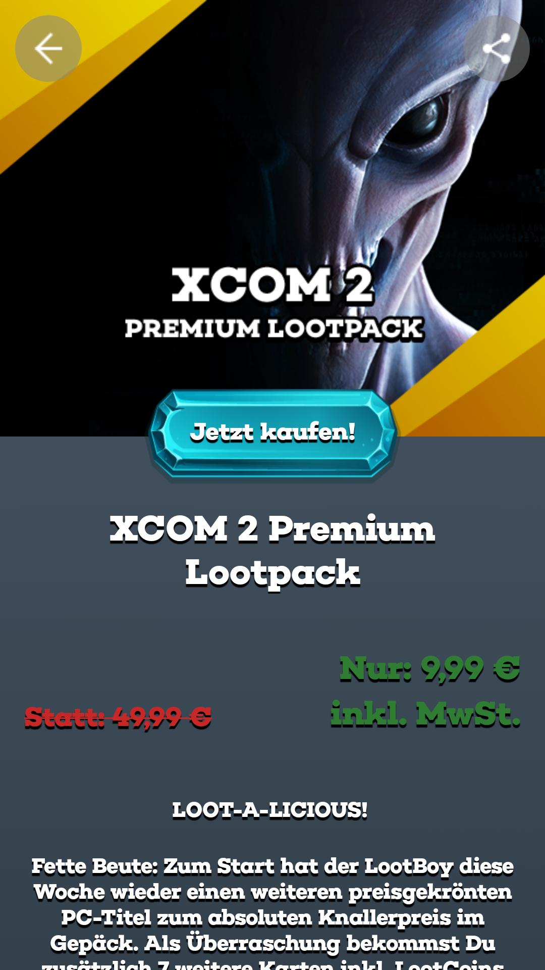 XCOM 2 (PC) - Steamkey bei Lootboy (via kostenloser App) für 9,99 Euro