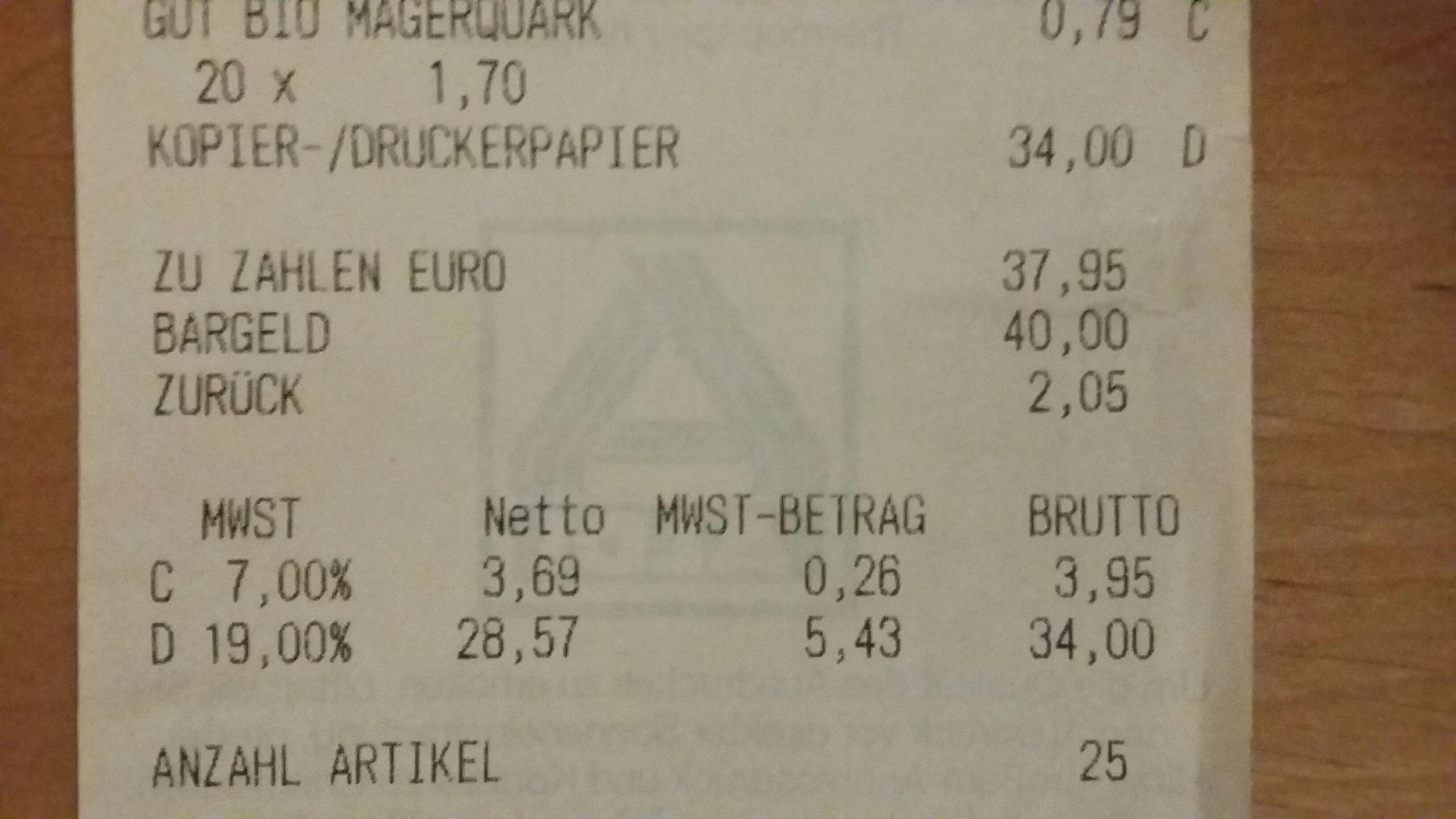 Kopierpapier 500 Blatt 1,70€ [Aldi Nord] [lokal]