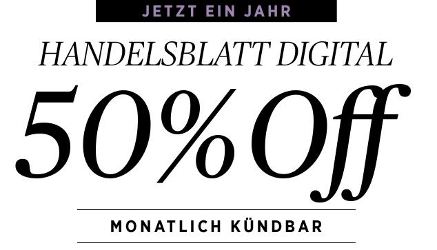 Handelsblatt Digitalpass 1 Jahr lang 50% günstiger, monatlich kündbar
